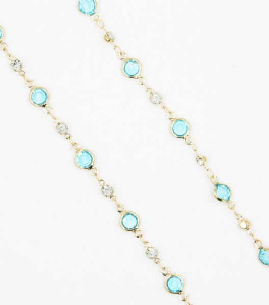 Gold necklace with light blue crystal 40 inch/100cm